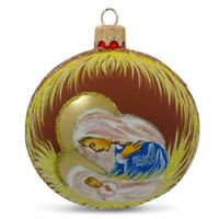 Mary Overlooking Jesus Nativity Glass Ball Christmas Ornament 3.25 Inches
