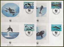 ST. THOMAS & PRINCE 1992 WWF DOLPHINS FDC's x4 (ID:563/D36444)