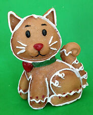 "NEW 4.5"" tall GINGERBREAD CAT Resin Statue GLITTER Christmas Figurine"
