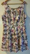 FOREVER NEW 16 Dress Floral Printed Fit and Flare Sleeveless Zip Casual Fully li