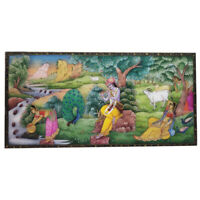 "Painting 4""X 8"" Radha Krishna Handmade India Miniature Artwork Resin tile"