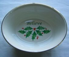 "Lenox Oval ""Believe"" Candy/Nut Dish Holly Design, Dimension Collection"