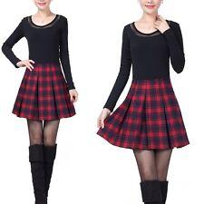 Womens Girls Pleated Tartan Wool Blend Scotland Scottish Mini Skirt Kilt Dress