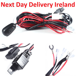 Car Jeep Driving Fog light Wiring Harness Kit LED Work Light Bar Cable 40A 12V