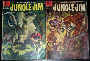 JUNGLE JIM #14,18 Vintage Early Silver-Age Issues! 1957/58 Dell Comics