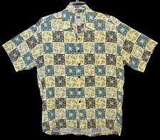 Sz L Vin 1995 AVI by KAHALA Hawaiian Aloha Shirt Tropical Floral Lite Yellow USA
