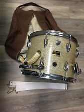 "Vintage ZIM GAR Japan Marching Band Gold Snare Drum 14"" x 10"" Canvas Bag Ludwig"