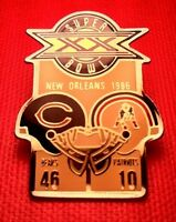 Vintage NFL Super Bowl XX (20) Starline Collector Set Pin: Bears vs Patriots