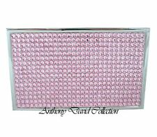 Ladies Pink Crystal Silver Metal Business Card Case Holder w/ Swarovski Crystals