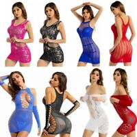 Women Sexy Hollow Out Mini Dress Fishnet See-through Stretchy Bodycon Lingerie