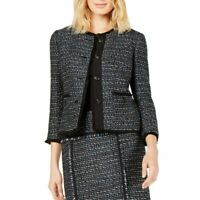 ANNE KLEIN NEW Women's Fringe-trim Tweed Jacket Top TEDO