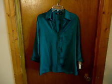 "Womens APT.9 Essentials "" NWT "" Size L Green Button Down Blouse With Pocket "" BE"
