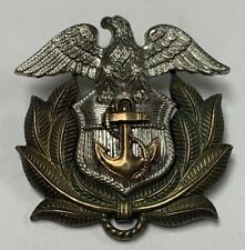 10k Gold Plate Sterling Silver Military Usmc Eagle Anchor Leaves Pin