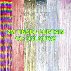 2M Foil Metallic Fringe Tinsel Curtain Backdrop Party Decorations Door Birthday