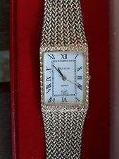 Vintage 1980s Bulova Quartz Gold Plated Gents White Dial Mesh Strap Date Watch
