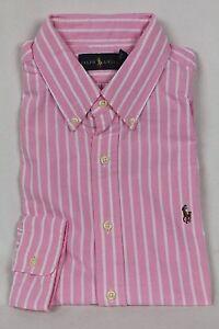 Ralph Lauren Pink Stripe Oxford Classic Dress Shirt Multi Colored Pony NWT