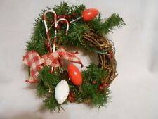 handmade Christmas holiday wreath glass bulb decorations with candy canes