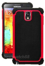 for samsung galaxy note III 3 triple 3  layer hybrid soft hard black red case