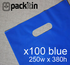 100 ROYAL BLUE PLASTIC CARRY BAGS with die cut handle medium size - 250 x 380mm