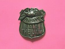 Anthrax Official Vintage Pin Button Badge Uk Import Poker I Am The Law