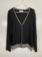 Women's Black and White Cardigan Long Sleeve Sweater 3X XXXL Judith Hart Silk