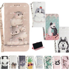 Cute Funny Phone Case for Huawei P20 y9 2018 Paint Leather Stand Flip Card Stand