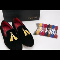 Handmade FERUCCI Men Black smoking Velvet Slippers loafers with removable Tassel