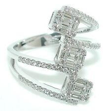 1 CT Triple Stacked Baguettes & Rounds Emerald Cut Illusion DIAMOND Ring 18K WG