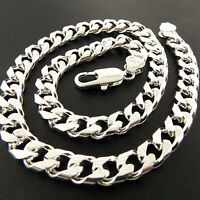 Men's Necklaces Chain Genuine Real 925 Sterling Silver S/F Solid Heavy Curb Link
