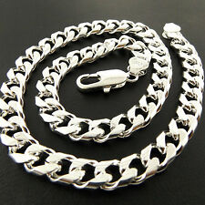 A877 GENUINE REAL 925 STERLING SILVER S/F SOLID MENS HEAVY CURB CUBAN NECKLACES