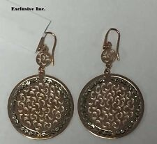 Officina Bernardi Sole Large Disc Earrings Italian 925 Sterling Rose Gold Color