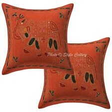 Zari Embroidered Cotton Cushion Cover Indian Decorative Throw Pillow Case Covers