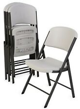 Lifetime - Commercial Contoured Folding Chair - White or Almond - 4 Pack