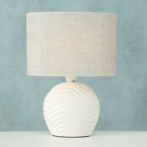 White Round Ceramic Office Desk Dining Bed Side Table Lamp Night Reading Light
