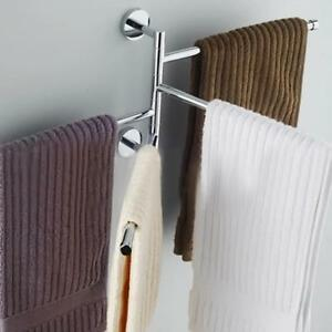 Bathroom Towel Rack Hanging Storage Holder Shower Organizer Swivel Rail Shelf