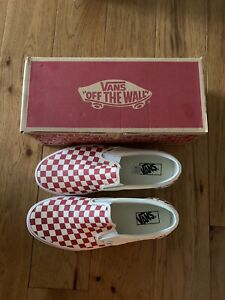 Vans Classic Slip-On Checkerboard Racing Red Shoes New W/Box Men's 11.5