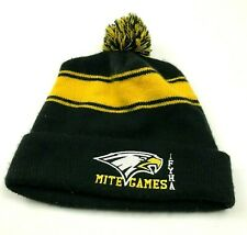 VINTAGE Mite Games Beanie Hat Cap Pompom One Size Fitted Black Yellow Knit Adult