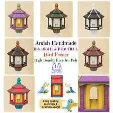 Bird Feeder ~ Amish Handmade Recycled Poly Hexagon ~ Tan Black & White 5Lb Usa