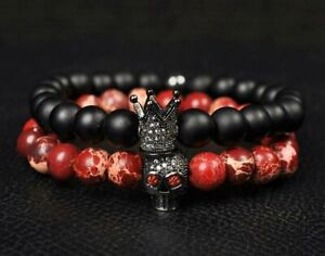 2021 Men Fashion Lava Stone Beads Black CZ Crown & Red Skull Men Charm Bracelets
