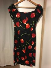 BNWT COLLECTIF Cherry Print Wiggle Fitted Bodycon Dress UK 12 Retro Rockabilly