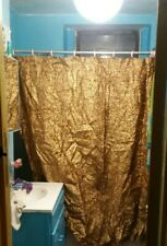 3 peice GOLD TINSEL FABRIC SHOWER CURTAIN & WINDOW DRAPE CELEBRITY GLAM set