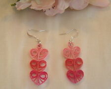 Handcrafted Paper Quill Brown Pink Triple Heart Earrings