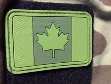 PVC FOREST GREEN PATCH CANADA FLAG CANADIAN OD TACTICAL ARMY OPS MORALE 102