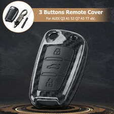 3 Button Remote Key Fob Cover Case Shell Carbon Fiber Fit Audi A3 A4 A5 Q5 Q7 TT