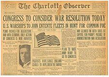 America at war with Germany April 6 1917 Congress Declares State of War  B10