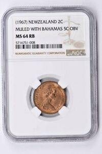 1967 New Zealand 2 Cents NGC MS 64 RB, MULED WITH BAHAMAS 5C OBV Witter Coin