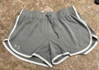 Under Armour Womens Gray White Trim Tech Shorts Sz Small