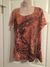 Women's Olivia Paige 2x Short Sleeve Top Oranges Butterfly and Rhinestones