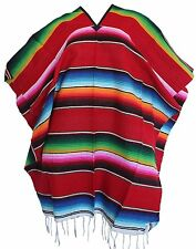 Adult Colorful Striped Saltillo Serape Mexican Fiesta PONCHO pancho costume