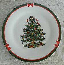 Set of 4 Ribbons & Tree Dinner Plates Christmas Porcelain China 2008 Topco Assoc